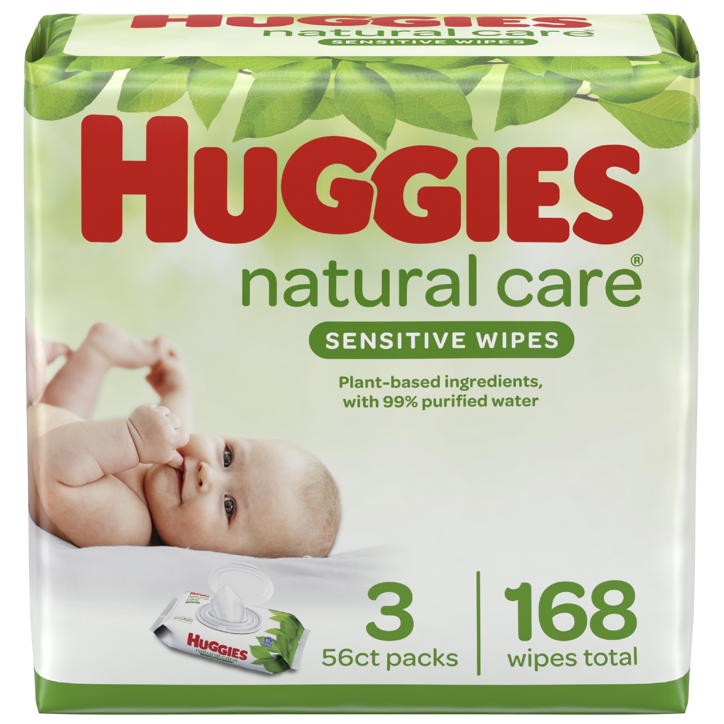 Huggies Natural Care Sensitive Baby Wipes, Unscented, 3 Flip-Top Packs (168 Wipes Total)