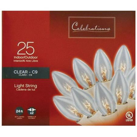 Celebrations Incandescent Transparent C9 25 Light String Lights