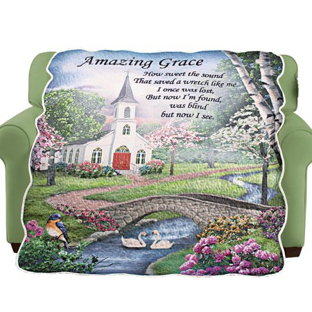 Religious Throw Blankets - Amazing Grace Religious Home Decor Quilted Throw Blanket
