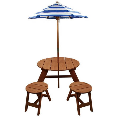 Wood Round Table with Umbrella and 2 Chairs by Homeware