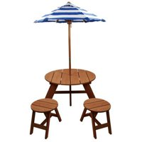 Wood Round Table with Umbrella and 2 Chairs