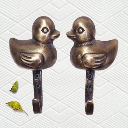 (pack of 3 sets / Decorative Brass Ducks Wall Hanger / Hook / Key Hook)