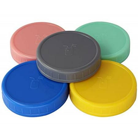 MJL Leak Proof Plastic Storage Lids With Silicone Liners For Mason Jars (5 Pack, Wide Mouth)](Plastic Mason Jar Lids)