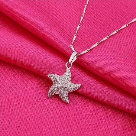 Glass Starfish Necklace (ON SALE - Mini Dancing Micro Pave Starfish Pendant Necklace White Gold)