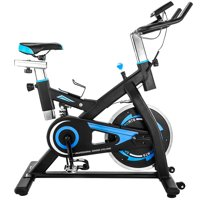 Indoor Exercise Bike, Silent Belt Drive Indoor Cycling Bike with LED Monitor & Seat, 300 Lbs Weight Capacity, Adjustable Foot Fitness Equipment, Exercise Equipment for Gym Home Workout, Blue, W8526
