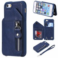 iPhone SE Case, iPhone 5 5S Case, Dteck PU Leather Zipper Wallet Back Kickstand Case Protective Cover With Card Slots, Blue