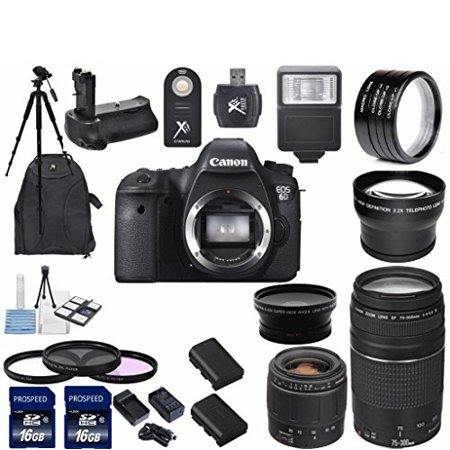 Canon Eos 6D Digital Slr Camera Body With Tamron 28 80Mm F 3 5 5 6 Aspherical Lens   Ef 75 300Mm F 4 5 6 Iii Telephoto Z