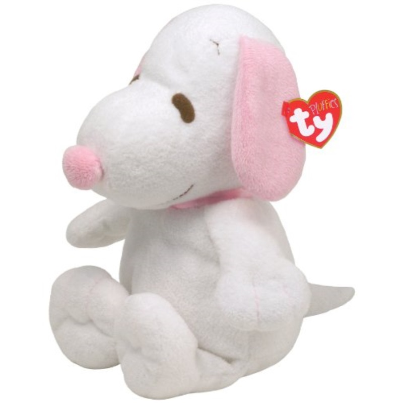Ty Pluffies Snoopy - White/Pink
