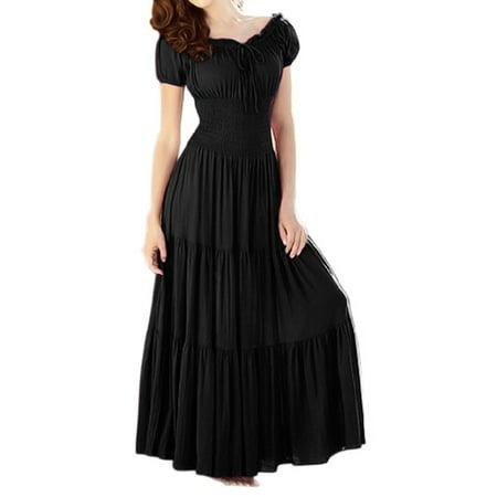 (Peach Couture Gypsy Boho Cap Sleeves Smocked Waist Tiered Renaissance Maxi Dress (Black, XL))