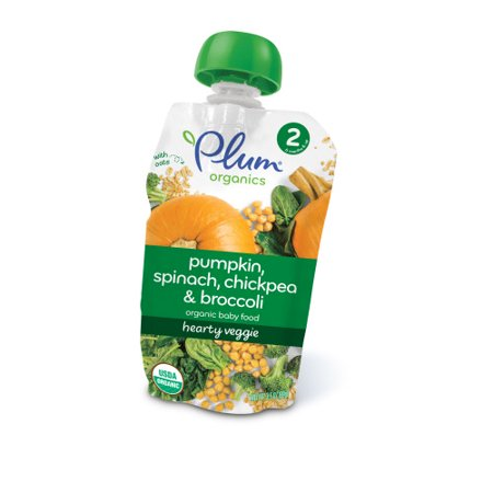 Plum Organics Spinach, Pumpkin & Chickpea Stage 2 Organic Baby Food, 3.5 oz, 6 count - Baby Pumpkin