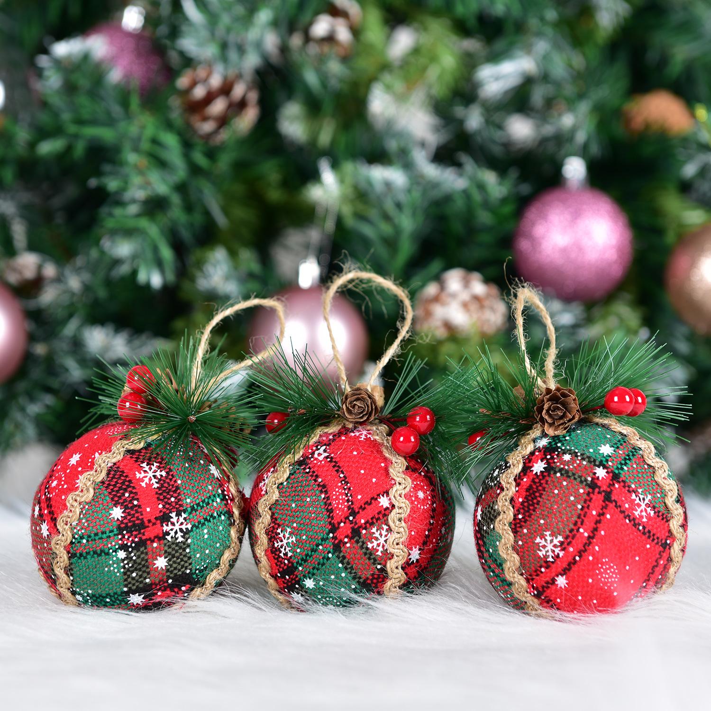 Tingor 3pcs Buffalo Plaid Christmas Tree Ornaments Red Plaid Xmas Hanging Ball With Pine Cones And Greeneryfor Christmas Tree Party Decoration Walmart Com Walmart Com