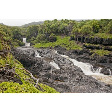 Waterfall 12' Lip (Hawaii Maui Hana Seven Sacred Pools a large stream and waterfalls Stretched Canvas - Jenna Szerlag  Design Pics (19 x 12))
