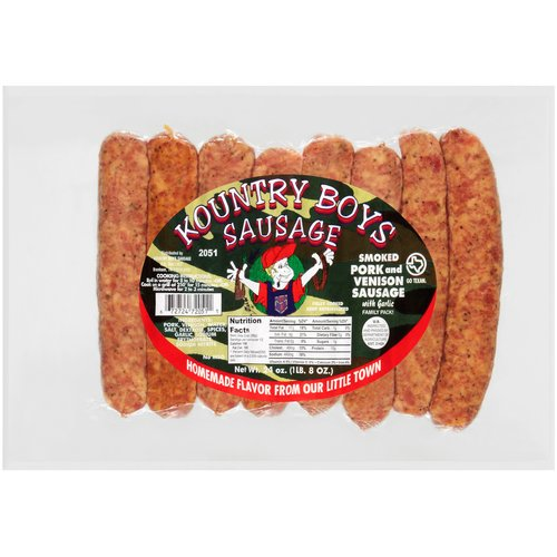 Kountry Boys Sausage Smoked Pork & Venison with Garlic Sausage, 24 oz, 8 count