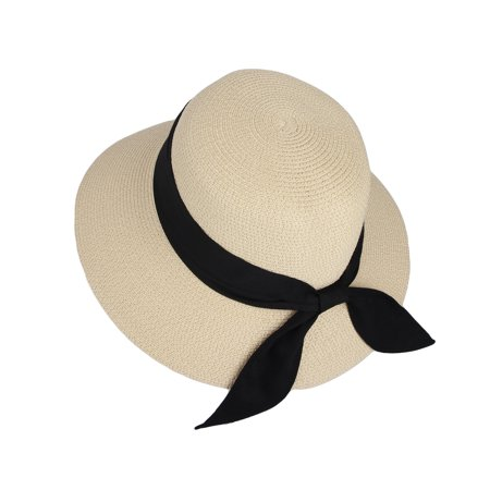 WITHMOONS Floppy Summer Beach Sun Hat Paper Straw Ribbon Banded KR91202 (Ivory) Ivory Sun Hat