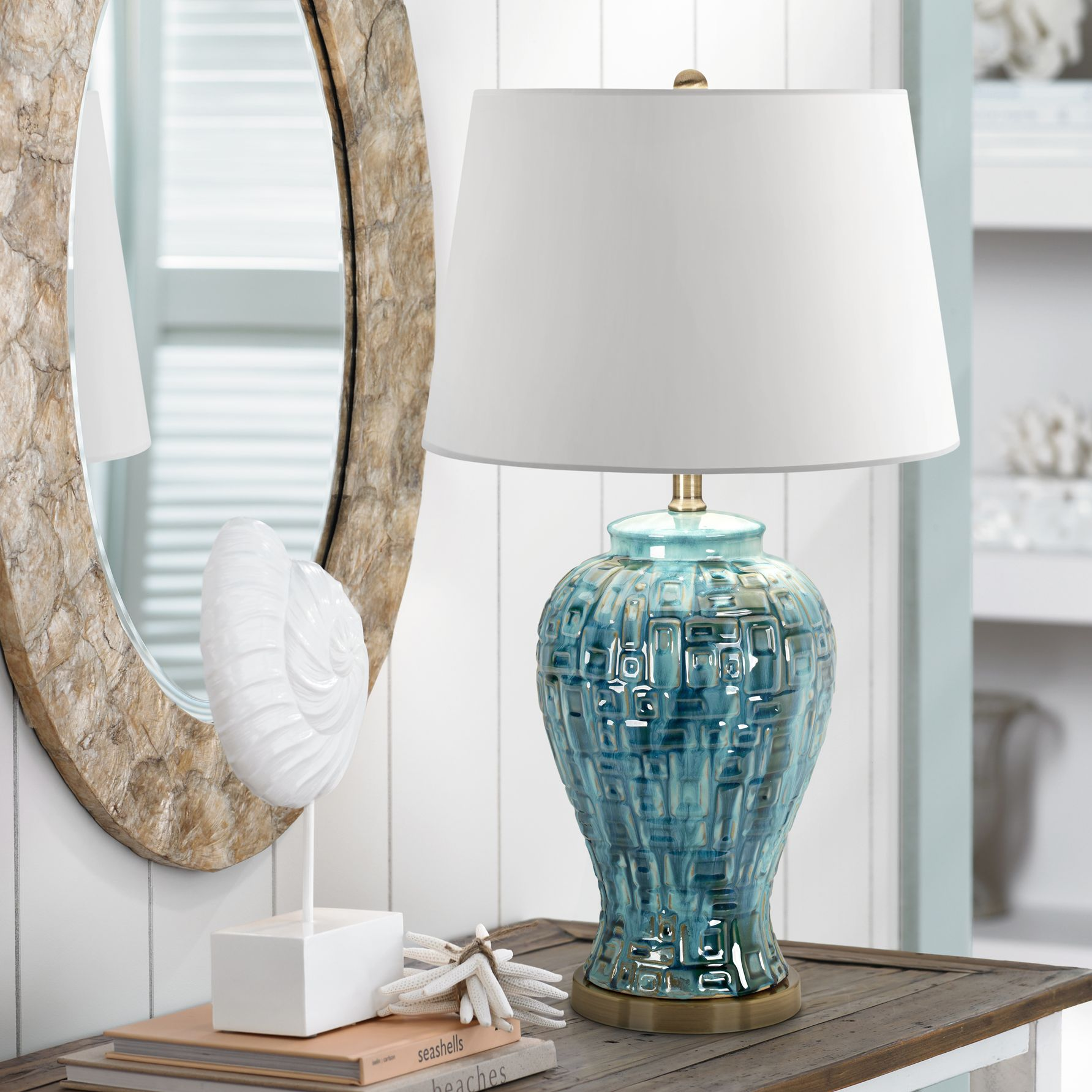 Possini Euro Design Asian Table Lamp Ceramic Teal Glaze Patterned Temple Jar White Empire Shade for Living Room Family Bedroom