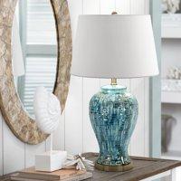Possini Euro Design Asian Table Lamp Ceramic Teal Glaze Patterned Temple Jar White Empire Shade for Living Room Family Bedroom