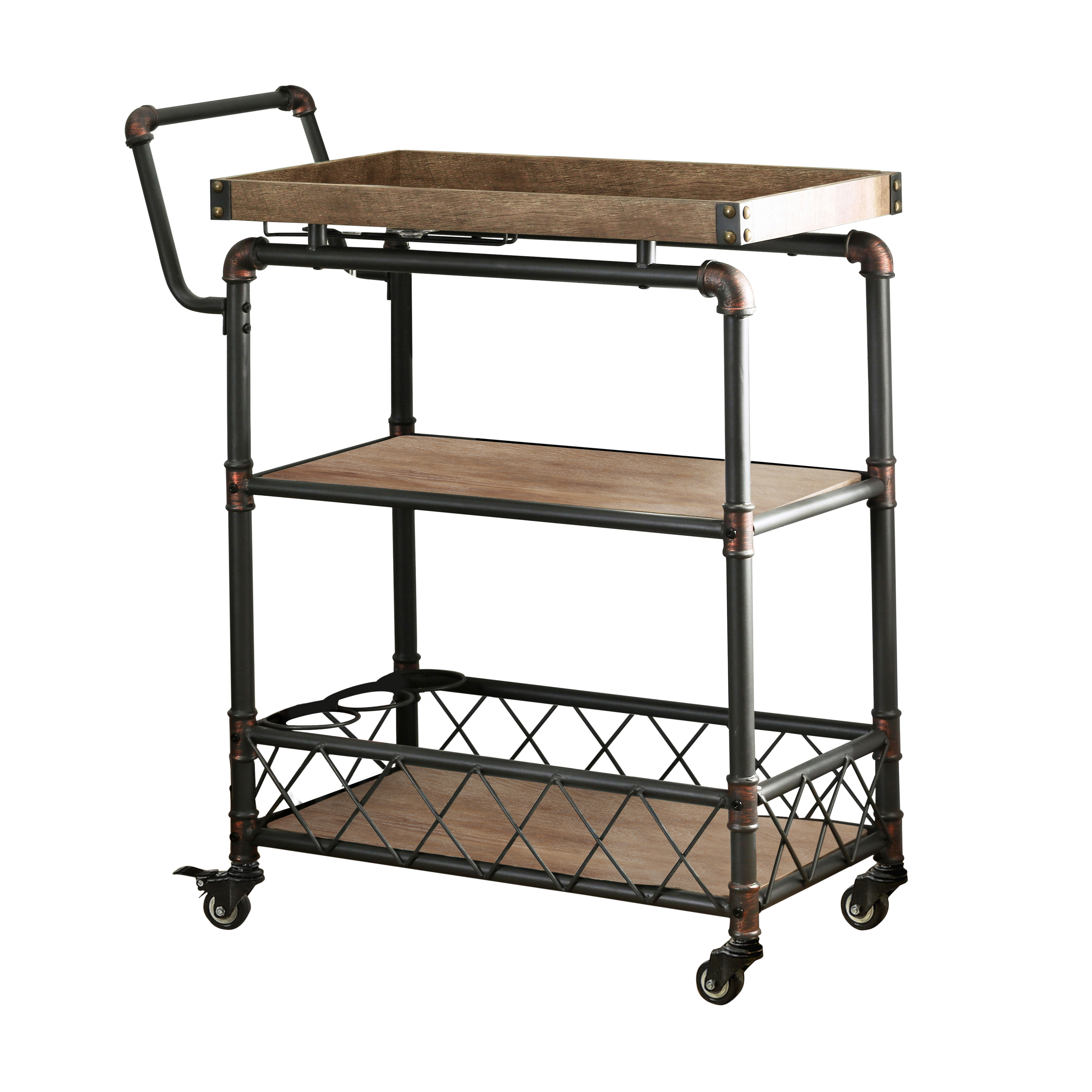 Furniture of America Thorah Industrial Style Serving Cart, Antique Black