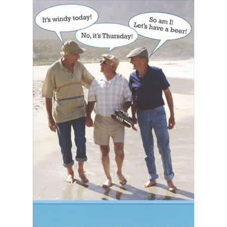 Recycled Paper Greetings 3 Guys on Beach Funny / Humorous Birthday Card (Beach Greeting Cards)
