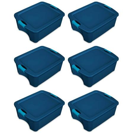 Sterilite 12 Gallon Latch and Carry Storage Tote, True Blue (6 Pack)   14447406 12 Gallon Tower
