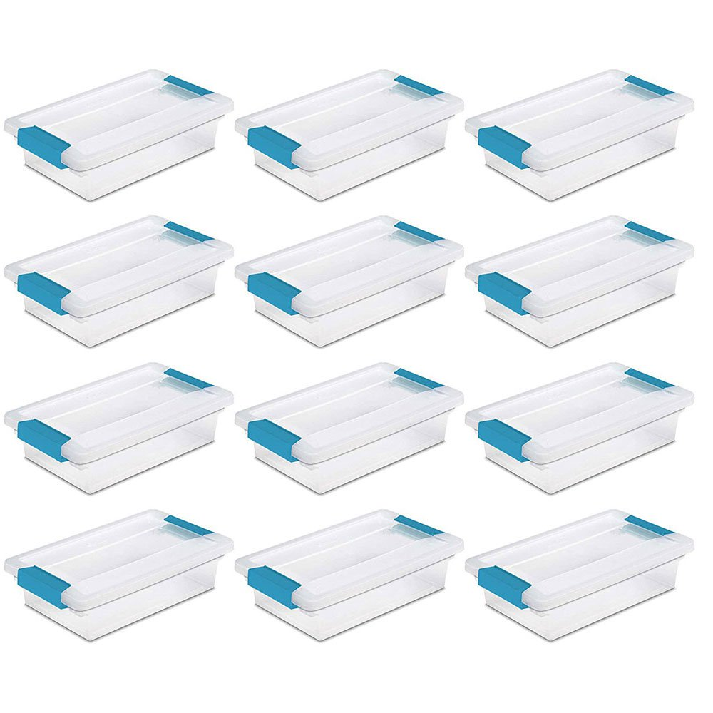 Sterilite Mini Clip Plastic Storage Box Clear w/ Blue Aquarium Latches (12 Pack)