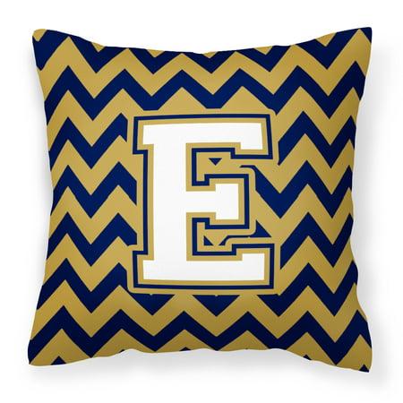 Letter E Chevron Navy Blue and Gold Fabric Decorative Pillow CJ1057-EPW1414 - Walmart.com