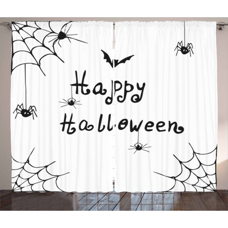Spider Web Curtains 2 Panels Set, Happy Halloween Celebration Monochrome Hand Drawn Style Creepy Doodle Artwork, Window Drapes for Living Room Bedroom, 108W X 90L Inches, Black White, by Ambesonne