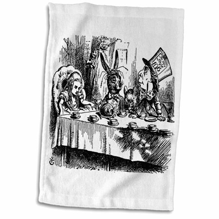 3dRose Mad Hatter tea party illustration by John Tenniel. Alice in Wonderland - Towel, 15 by 22-inch - Mad Hatter Party