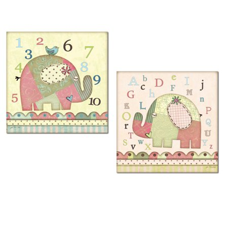 Alphabet Elephant (Adorable Alphabet and Number Patch Elephant and Bird Set; Nursery or Kids Room Decor; Two 12x12in Unframed Paper Posters. Green/Pink/Blue)