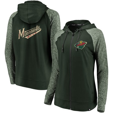 watch b5320 4c014 Minnesota Wild Fanatics Branded Women's Made 2 Move Raglan Full-Zip Hoodie  - Green/Heathered Green