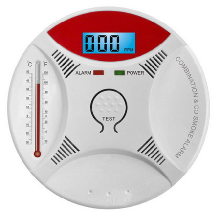 Arzil 2 in 1 Combination Carbon Monoxide CO & Smoke Sensor Detector Sound & Flash Alarm Home Security Warning Gas Smart prompt SMT manufacture technology Battery-Operation (Combination Detector)