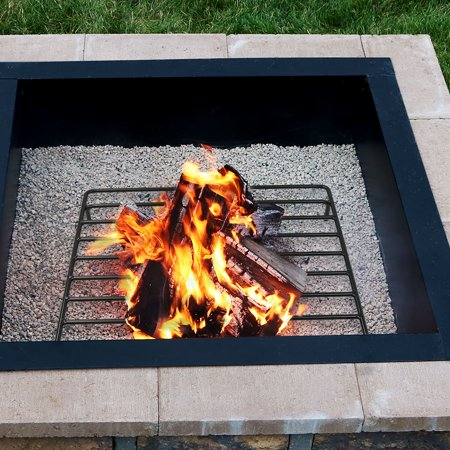 Sunnydaze Square Steel Outdoor Fire Pit Wood Grate 36 Inches Square