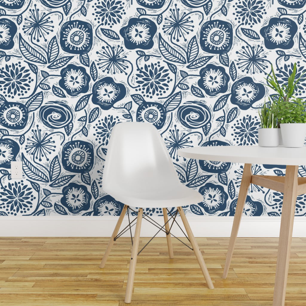 Removable Water Activated Wallpaper Botanical Block Floral Decor