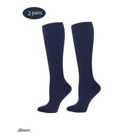 Spencer 2 Pairs Knee High Graduated Compression Socks 10-20mmHg for Men & Women Best For Running,Athletic,Medical and Travel (Best Shocks For F250 Diesel)