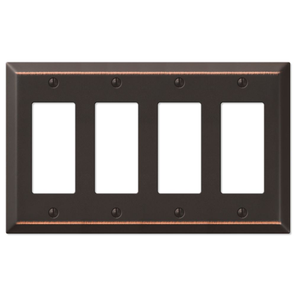 Four GFCI Rocker Wall Switch Plate - Oil Rubbed Bronze