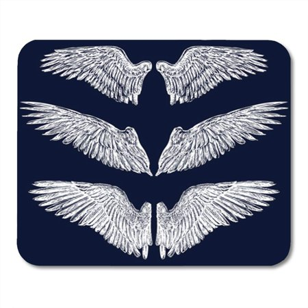SIDONKU Angel Wings Vector Eagle Vintage Bird Tattoo Freedom Gothic Mousepad Mouse Pad Mouse Mat 9x10 inch