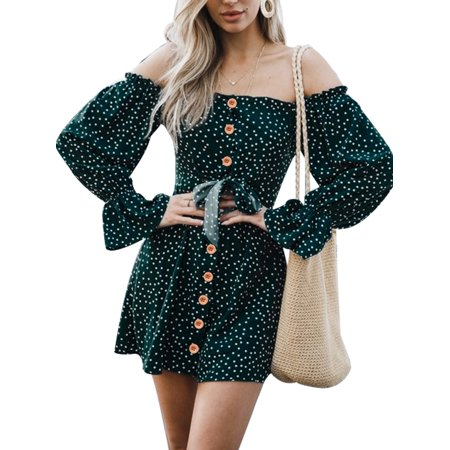 - JustVH Women's Off Shoulder Spot Printed Long Puff Sleeve Swing Dress with Decorative Button