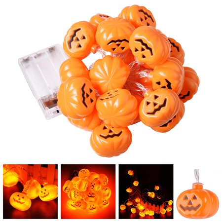 Image of Yescom LED String Light 10.8' 20 LED 2 Mode Pumpkin Halloween Party Home Indoor Outdoor Decoration (Pack of 2)