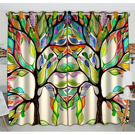 GCKG Tree of Life Window Curtain,Tree of Life Gorgeous Like Leather Grommet Blackout Curtain Room Darkening Curtains For Bedroom And Kitchen Size 52(W) x 84(H) inches (Two Piece)