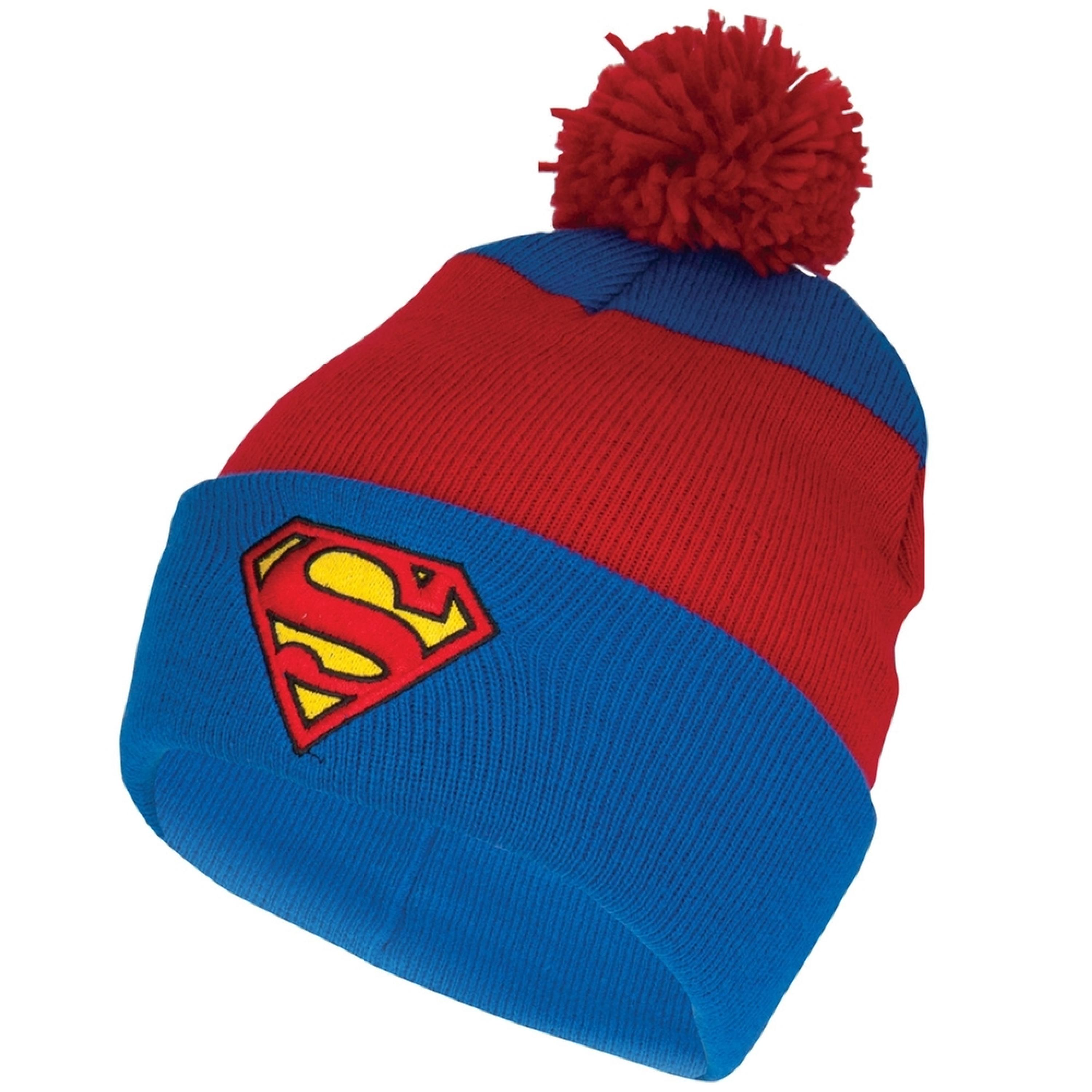 Superman - Shield Logo Pom Pom Knit Hat