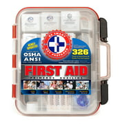 Be Smart Get Prepared Impact-Resistant Multi-Compartment Organizer Case First Aid Kit, 326 Items