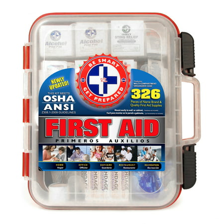 Be Smart Get Prepared - First Aid Kit Hard Case, Passes OSHA and ANSI, 326