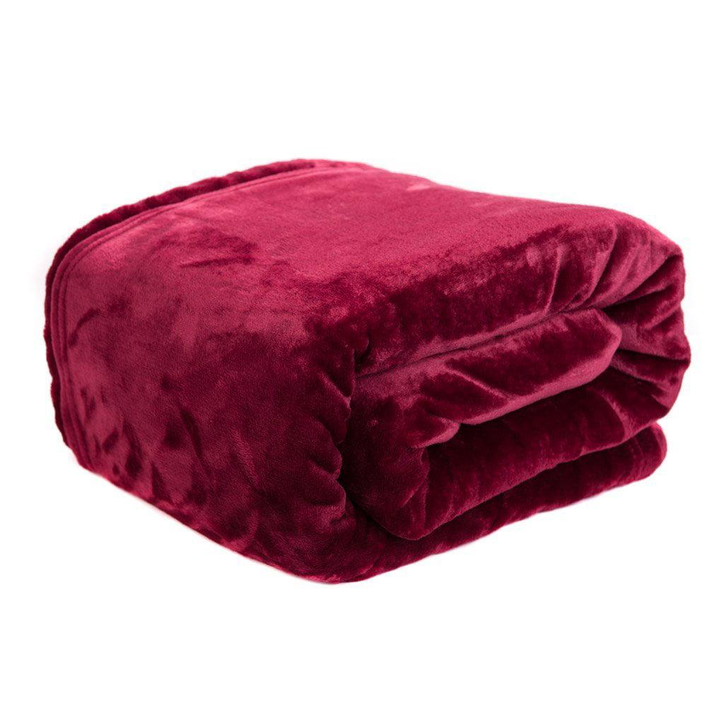 HYSEAS Velvet Plush Throw, Home Fleece Throw Blanket, 50 by 60-Inch, Burgundy by HS