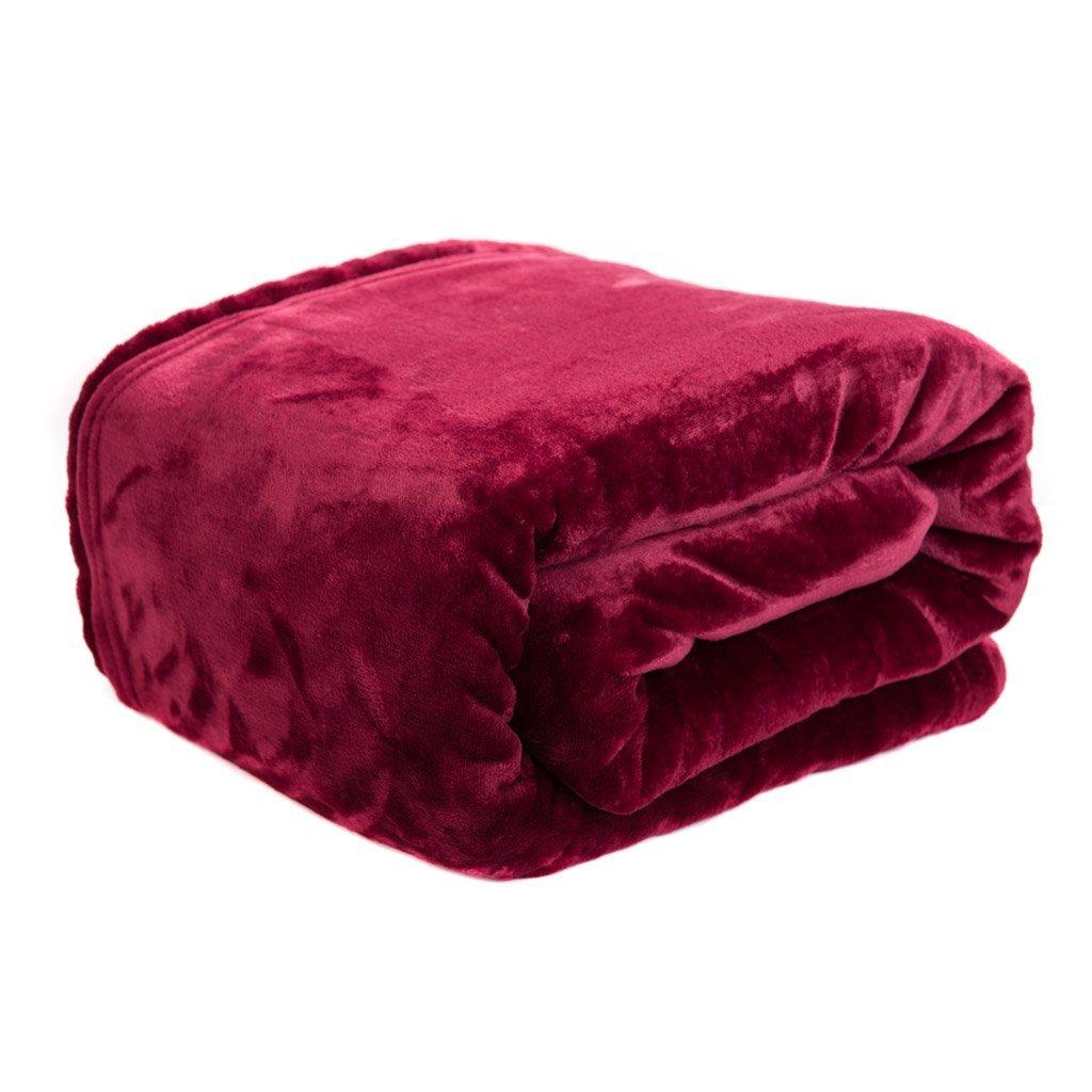 HYSEAS Velvet Plush Fleece Throw Blanket, Burgundy