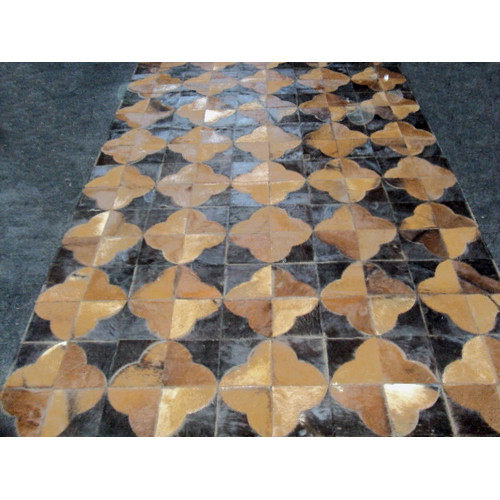 Modern Rugs Patchwork Leather Geo Brown Area Rug