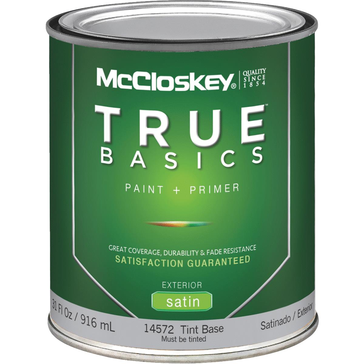 McCloskey TRUE BASICS Latex Paint & Primer Satin Exterior House Paint