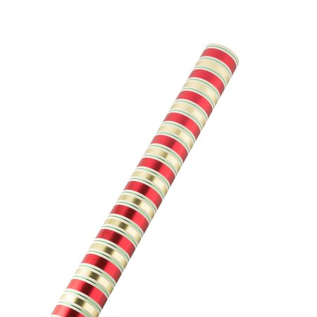 Gold Striped Paper (JAM PAPER Gift Wrap - Christmas Wrapping Paper - 25 Sq Ft - Red & Gold Embossed Stripes - Roll Sold)