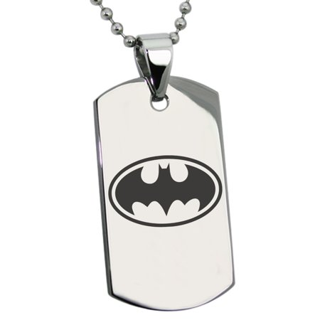 Stainless Steel DC Batman Logo Engraved Dog Tag Pendant