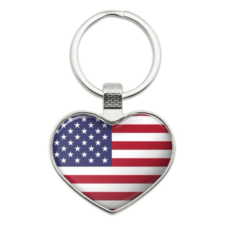 United States of America American USA Flag Heart Love Metal Keychain Key Chain Ring