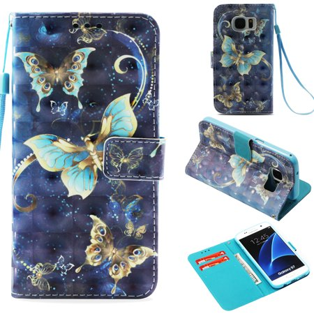 Galaxy S7 Case, Galaxy S7 Kids Case, Allytech [3D Painted] PU Leather Magnetic Folio Cover & Credit Card Slots Pocket, Support Kickstand Slim Case for Samsung Galaxy S7 (5.1