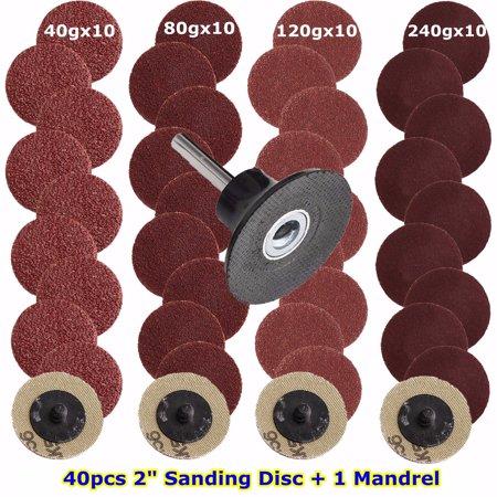 2 Inch 40pcs 40/80/120/240 Grits Type R Sandpaper Sanding Buffing Polishing Disc Plate Pad Wheel Abrasive + Mandrel Lock